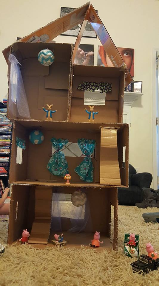 DIY playhouse made from cardboard boxes