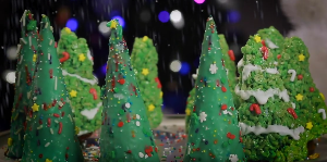 sugar cone and rice krispies christmas trees