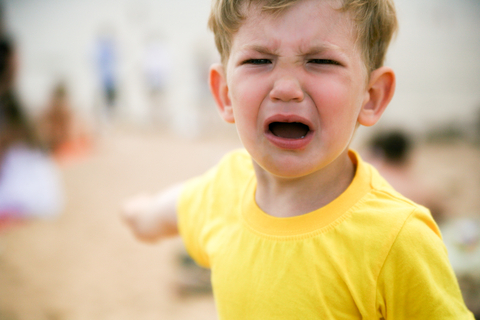 small boy crying