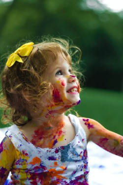 young girl with painted face