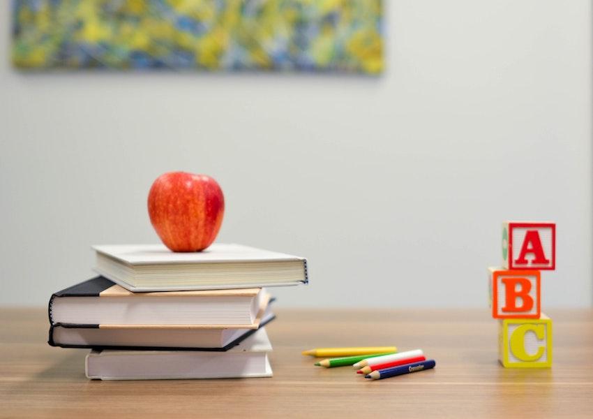 homeschool books on desk