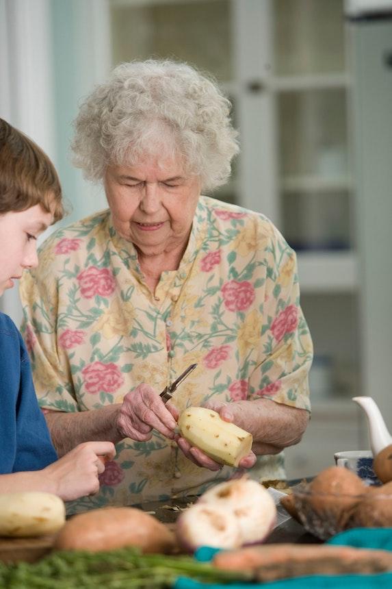grandparenting and peeling potatoes
