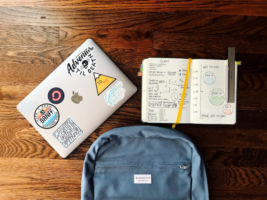 computer bag and notebook for distant learning