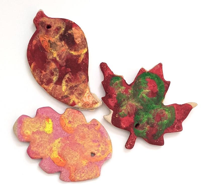 salt dough ornament leaves